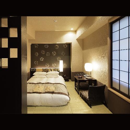 【和客室ダブル/16㎡】柔らかい光に包まれる「京旅籠」をイメージした客室