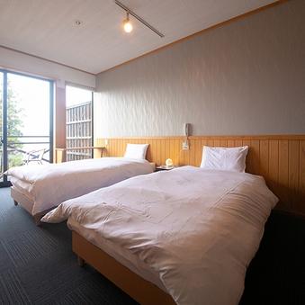 【半露天風呂付き】街側ツイン洋室/ベッド付き【禁煙】