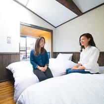 【客室】開放感のある半露天風呂付き洋室