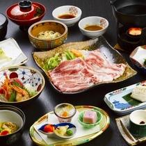 【源泉しゃぶしゃぶ膳】ブランド豚「米沢豚一番育ち」をメインにした和食膳(秋・冬)