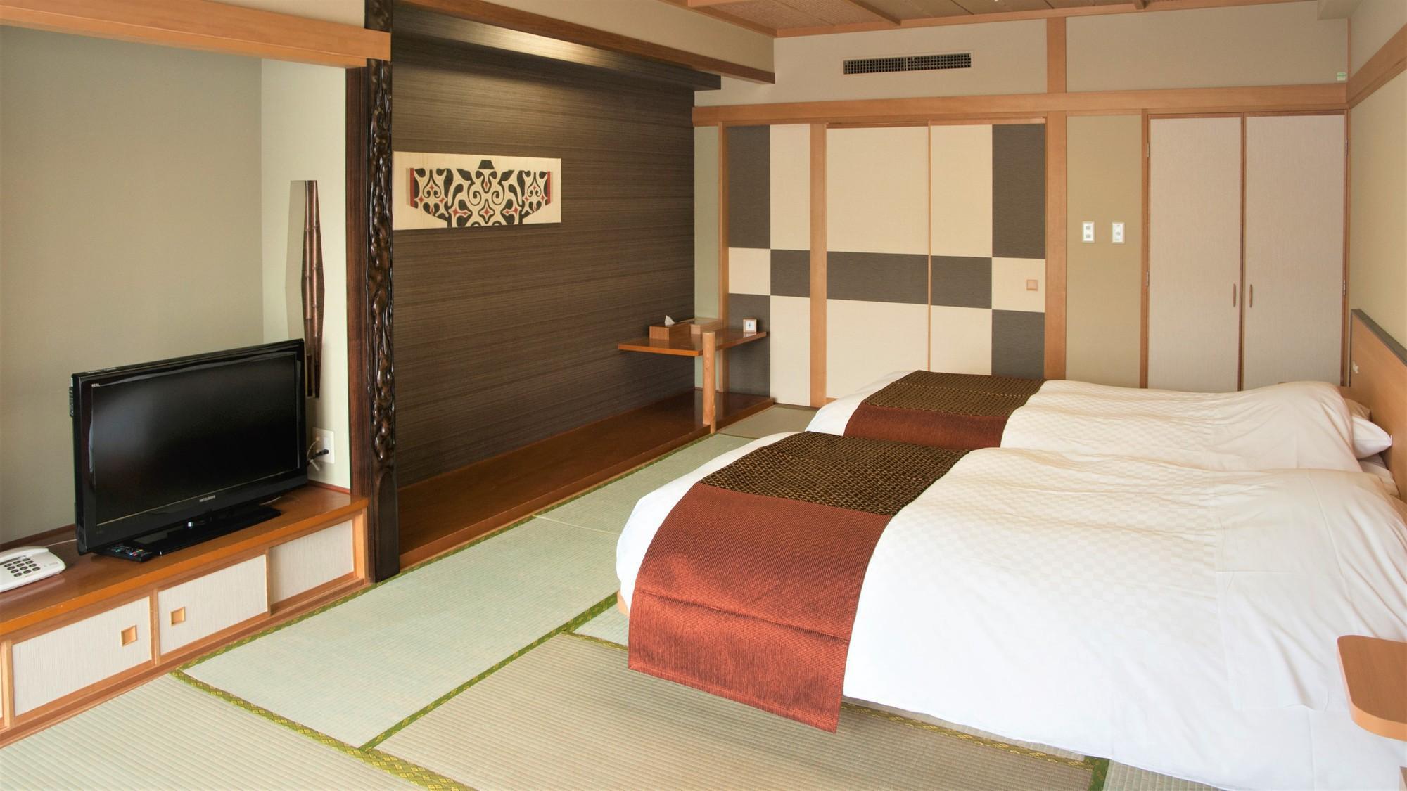 【山側】和室ツイン(客室一例)/和室のお部屋にベッドを配したベッド派にお勧めのお部屋。