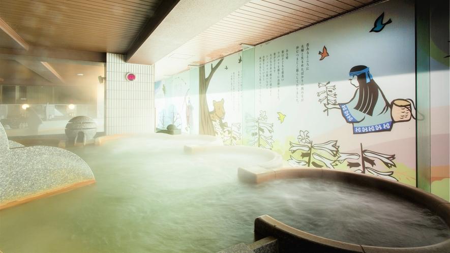 【2F男性大浴場「ピンネシリ」】話題のシルキーバスで、癒しの温浴をお楽しみください