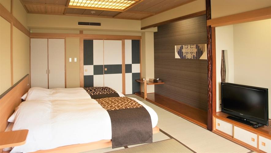 【湖側】和室ツイン(客室一例)/和室のお部屋にベッドを配したベッド派にお勧めのお部屋をご用意。
