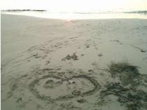 白浜の上につかの間の記念