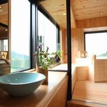 4階特別室檜風呂の洗面