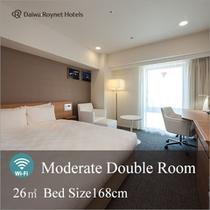 モデレートダブルルーム 客室面積:26㎡ ベッドサイズ 168cm