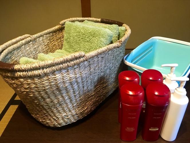 お風呂セット。タオルやシャンプーなど、船岡温泉へお持ち頂けます!