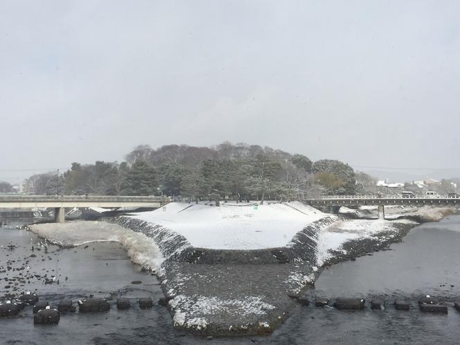 冬の鴨川。川が分岐する辺りには一面雪景色。バス停〜約10分。
