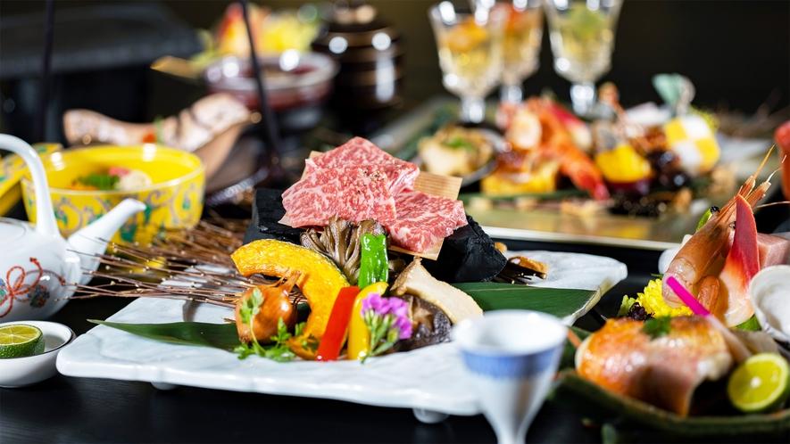 *和牛会席一例/上州牛の特製ステーキと季節の会席料理
