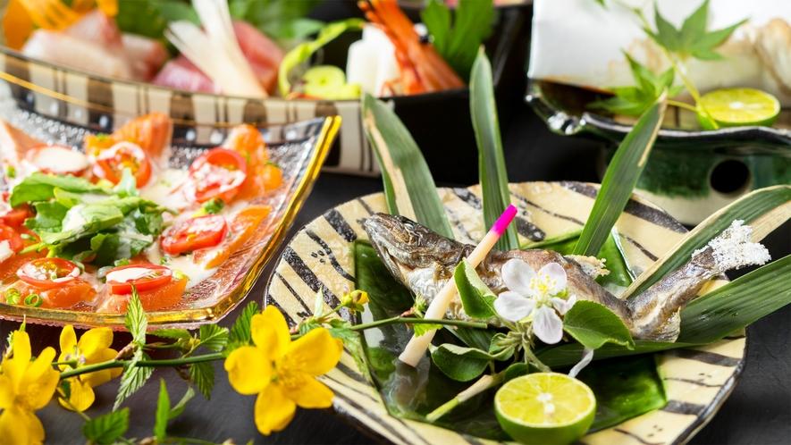 *会席一例/清らかな水で育った川魚を堪能