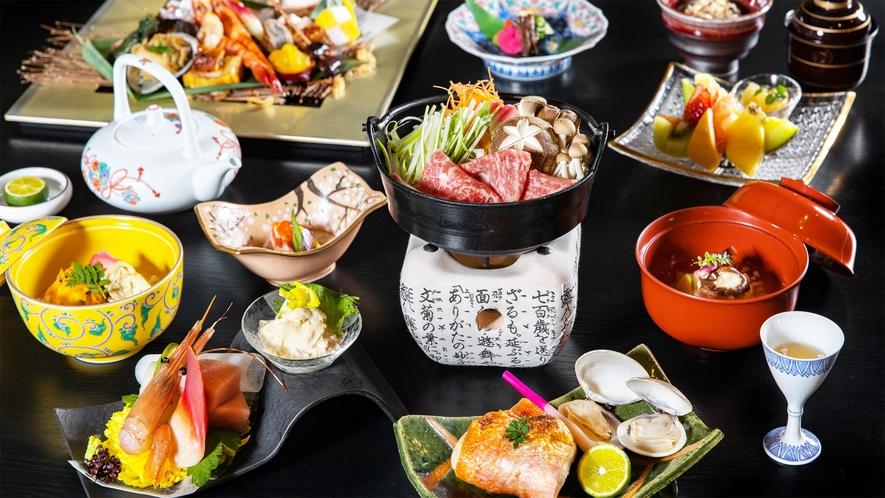 *旬会席一例/季節の風味豊かな地元食材を最高の調理法で