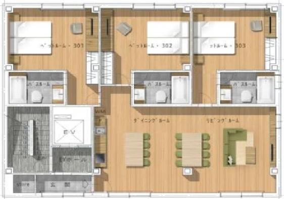 お部屋の窓辺でのんびり朝食を!朝食をお部屋へお届け。寝室×3、リビングキッチン、エアコン、洗濯機完備