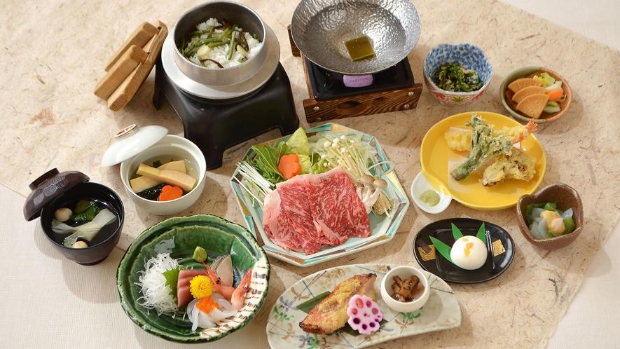 *【春のBコース 一例】旬の山菜ご飯やたけのこなど春の味覚をお楽しみください。