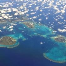 **【周辺観光】竹富島・小浜島・黒島/上空からの景色