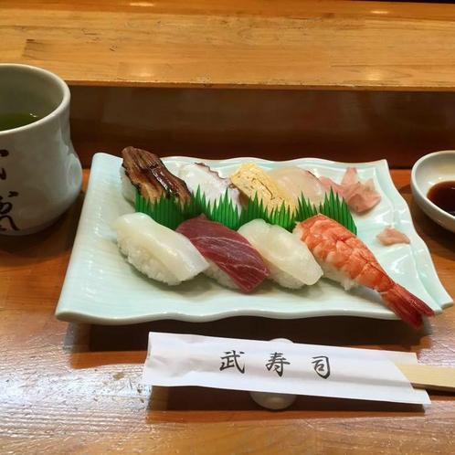 徒歩5分 【武寿司】 美味しいお寿司屋さんがあります! 水曜定休