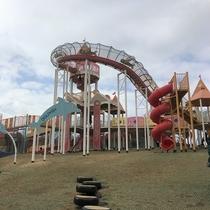 大きな遊具がいっぱいあって、1日遊べます!田辺市新庄総合公園まで車で約16分♪