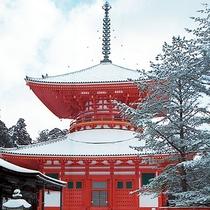 高野山・根本大塔 冬の様子