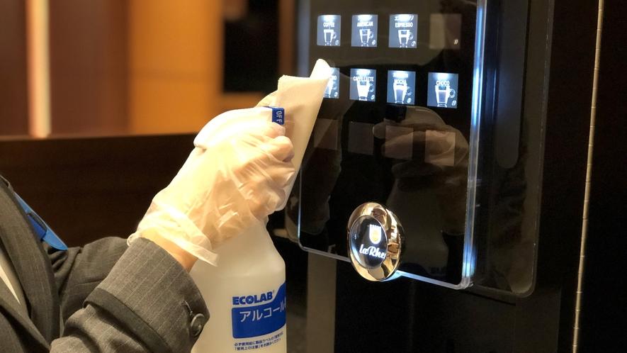 共用部では1時間に1回のアルコール除菌を徹底実施しております