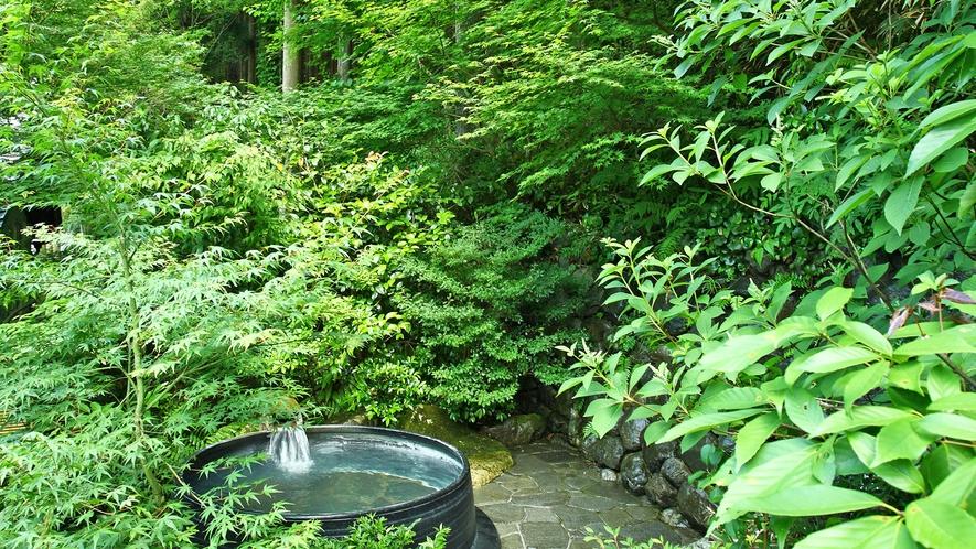 *【露天風呂】緑が美しい新緑の五右衛門露天風呂。森林浴気分でゆったりと癒されるひととき…。