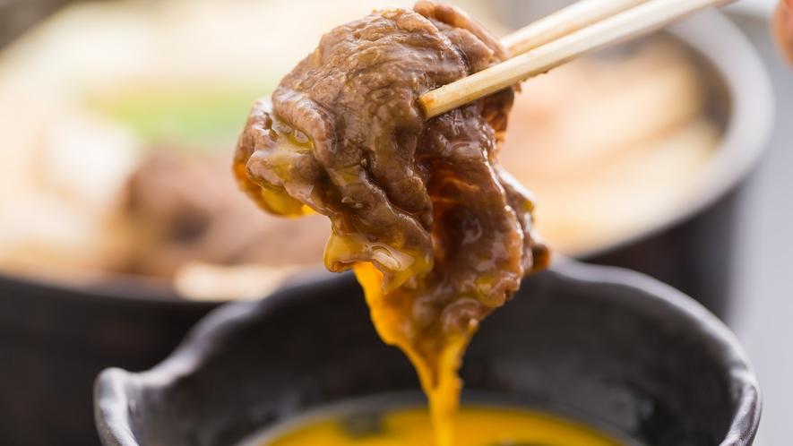 *【京都肉味噌すき焼き】溶き卵でもおいしくいただけます♪