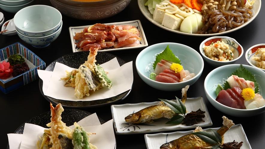 *【味噌鍋ミニ会席】名物の味噌鍋に、天ぷら、お刺身などを加えて会席風に致しました。