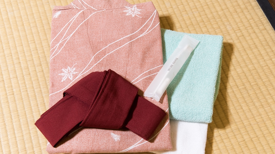 *【アメニティ】大人用浴衣、タオル、バスタオル、歯ブラシ