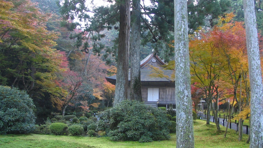 *【秋の大原三千院】紅葉シーズンは多くの観光客で賑わう人気スポット。境内の木々が美しく色づきます。