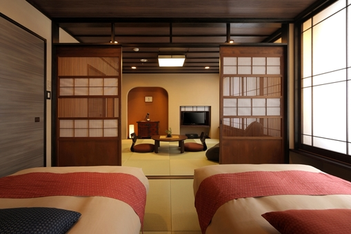 【禁煙】おしゃれ和洋室 8畳+6畳(ベッド2台付)