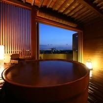 貸切露天風呂【檜】からの夕景