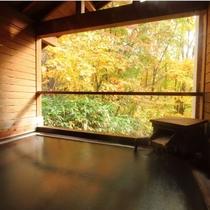 【かもしか遊びの湯・露天風呂】秋の紅葉を愛でながら、天然温泉で癒される(紅葉9月下旬~10月下旬)