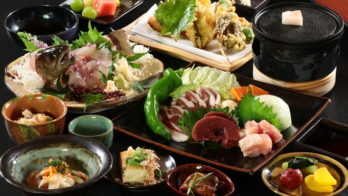 【山賊焼き盛り御膳】岩魚料理とジビエ肉の鉄板焼きを味わえるボリューム満点の当館イチオシ!!-2食付-