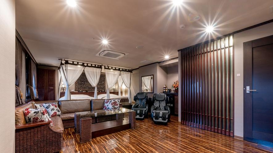 《岩盤浴付》至高のロイヤルスイートルームは、60㎡の圧倒的な広さ!女性同士やグループ利用に最適