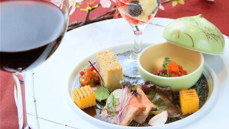 【旬彩】四季折々の旬の食材使った彩り鮮やかな前菜(一例)