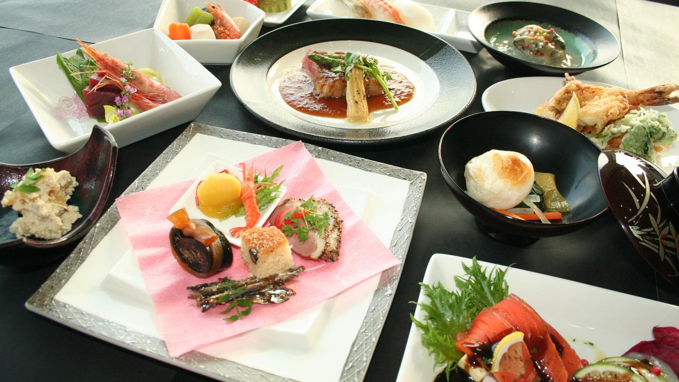 *【夕食コース一例】九州の食材をふんだんに使ったお料理になります