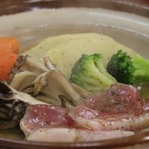 鴨と舞茸の陶板焼き