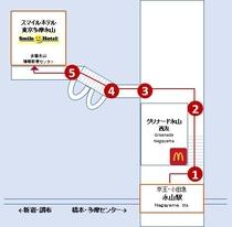 永山駅からホテルまで 徒歩7分程ですが階段があります