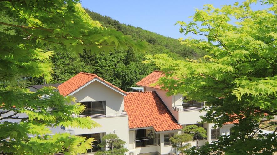 ◆【外観】緑に囲まれた閑静な宿です。