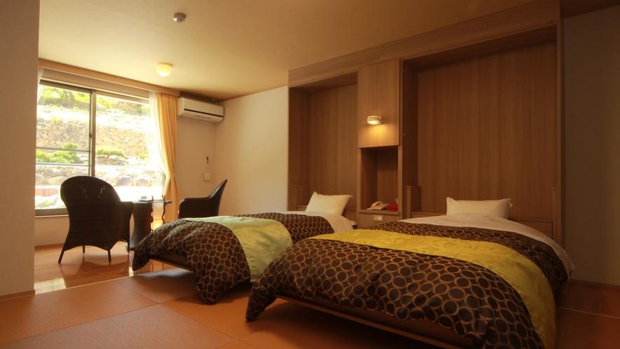 ◆【ラグジュアリーツイン】全室バストイレ付のツインは、お部屋毎にコーディネートされたくつろぎの空間