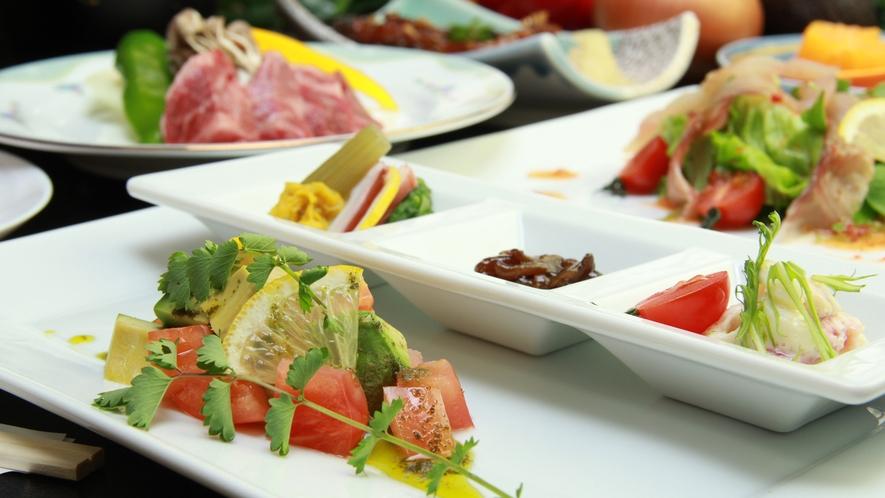 ◆【ご夕食一例】自家菜園で育てた新鮮な旬の野菜をご堪能下さい。