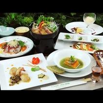 ◆【ご夕食一例・冬季】会津地鶏鍋と会津地鶏の卵たっぷりデザート1