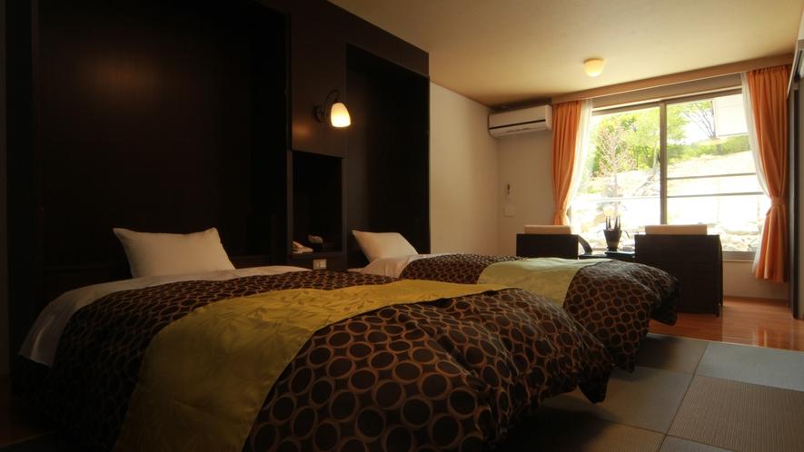 ◆【ラグジュアリーツイン-レモングラス-】全室バストイレ付のツイン。お部屋のお風呂も天然温泉です。