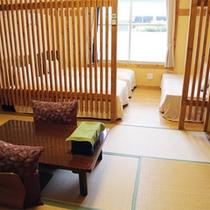 *【和洋室一例】宿のテーマのひとつである「和格子」がモダンにデザインされた、おしゃれな和洋室!