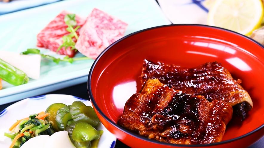 グレードアップ◆鰻蒲焼き&国産牛陶板焼きがついたコースです!