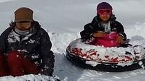 【スノーラフティング】お子様が滑るところを車の後部から撮影もできます。
