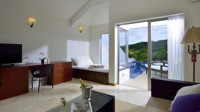 【さき楽90】天然のビーチが臨める風通しの良いスイートルーム<全室プライベートプール・朝食付き>