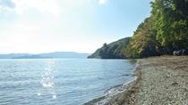 *太陽の光が反射してキラキラと...美しい湖畔の風景。