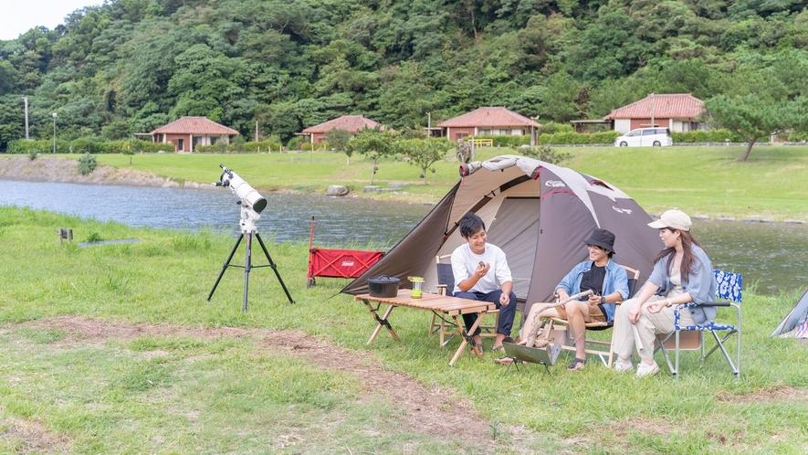 〇川辺にテント設置で!ミニキャンプ気分。※テント類の貸し出しはございません。各自でご用意ください。