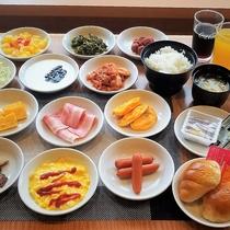 朝食バイキングの一例 ※一部メニューは日替わりで提供いたします。