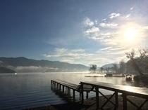 野尻湖の朝。