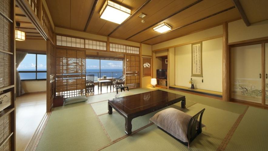 【本館 見晴し】2階北角部屋 12畳和室 源泉かけ流し個室露天風呂付